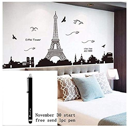 (Ussore Eiffel Tower Removable Decor Environmentally Mural Wall Stickers Decal Wallpaper For Kids Home living room bedroom bathroom kitchen Office)