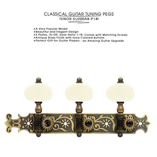 DJ200AB-P14I TENOR Classical Guitar Tuners Professional Tuning Key Pegs/Machine Heads for Classical or Flamenco Guitar with Antique Brass Finish and Ivory Colored Buttons.