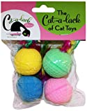 Cat-A-Lack 4-Piece Spongeballs with Feathers for Pets, My Pet Supplies