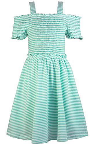 Truly Me Stripe Smocked Top Baby Doll Dress 7-16 (Mint - 10)