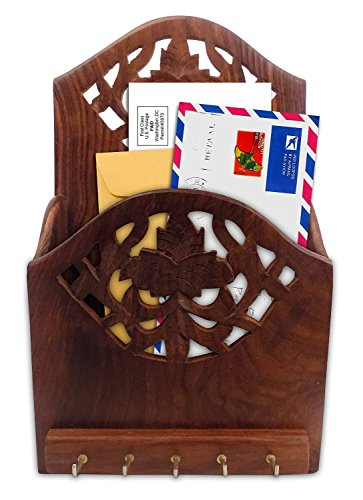 Crafts'man Wooden Letter organizer/Rack with Key Hooks (Letter and paper holder)