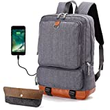 Laptop School Backpack Travel Bag - Oxford Muslin Waterproof Boys Backpacks With USB Port, Fit 15'' Computer, Large Backpack For Man, Kids, Teens, College High/Middle Student, Cool Heavy Duty (Grey)