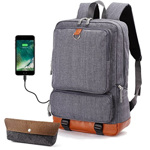 Laptop School Backpack Travel Bag - Oxford Muslin Waterproof Boys Backpacks With USB Port, Fit 15'' Computer, Large Backpack For Man, Kids, Teens, College High/Middle Student, Cool Heavy Duty (Grey) by for ideahome