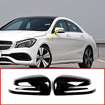 Cubierta de la tapa del espejo retrovisor lateral de plástico cromado ABS Negro brillante para A