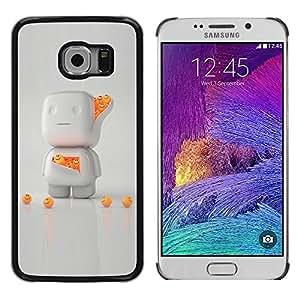 FECELL CITY // Duro Aluminio Pegatina PC Caso decorativo Funda Carcasa de Protección para Samsung Galaxy S6 EDGE SM-G925 // 3D White Orange Character Cute