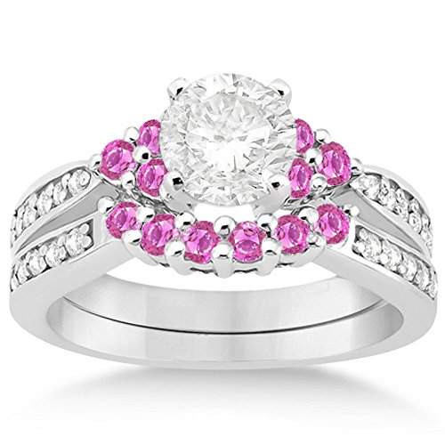 Floral Pink Sapphire and Diamond Engagement Set Band and Ring with Sapphires 18k White Gold 0.30ct GH VS (Floral Pink Sapphire)