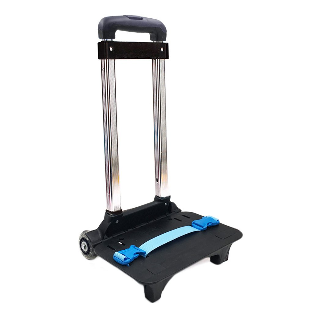 GudeHome Trolley Hand Aluminium Alloy Folding Wheeled Trolley Cart for Backpack (Blue, 2 Wheels)