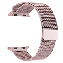 Apple Watch Band Series 1 Series 2, LNKOO Milanese Loop Stainless Steel Bracelet Smart Watch Replacement Strap for iWatch All Models with Unique Magnet Lock, No Buckle Needed (38MM/Rose Gold)