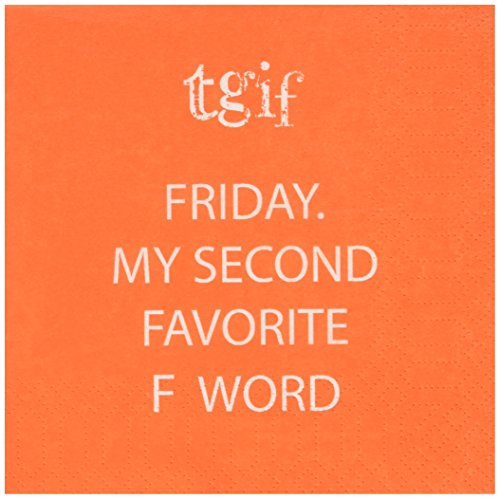 Paperproducts Design Paper Napkins (20 Pack), TGIF, Friday My Second Favorite F Word, Multicolor
