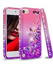 iPod Touch 7 Case, iPod Touch 6 Case, iPod Touch 5 Case for Girls, LeYi Glitter Liquid Clear Phone Case for Apple iPod Touch 7th/ 6th/ 5th Gen Pink/Purple