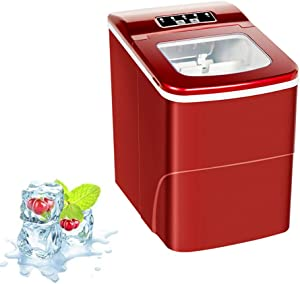 JFGUOYA Portable Ice Maker Machine for Countertop, 9 Bullet Ice Cube Ready in 7-9 Mins, 26 Lbs/24H Production, Electric Icemaker with Scoop and Basket, Stainless Steel