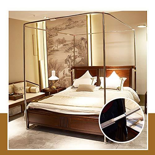 Three Open Doors Mosquito Net Bed Canopy Floor-Standing Rail Type Folding Retractable Net Tent Indoor Decorative,Purple,150200CM by LINLIN MOSQUITO NET (Image #5)