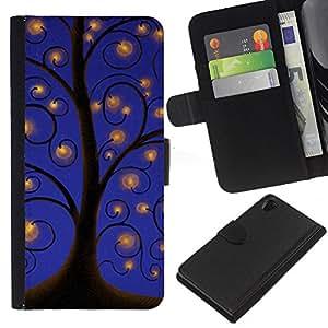 WINCASE (No Para Z2 Compact) Cuadro Funda Voltear Cuero Ranura Tarjetas TPU Carcasas Protectora Cover Case Para Sony Xperia Z2 D6502 - dibujo luces del cielo azul