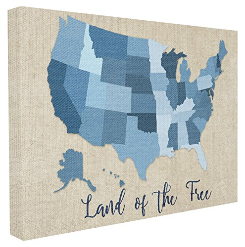 Stupell Home Décor Land Of The Free Denim Map Stretched Canvas Wall Art, 16 x 1.5 x 20, Proudly Made in USA