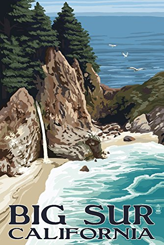 Big Sur, California - McWay Falls (9x12 Collectible Art Print, Wall Decor Travel Poster)