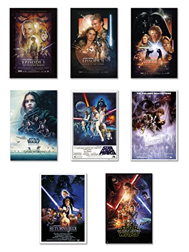 Star Wars: Episode I, II, III, IV, V, VI, VII & Rogue One - Movie Poster Set (8 Individual Full Size Movie Posters) (Size: 24