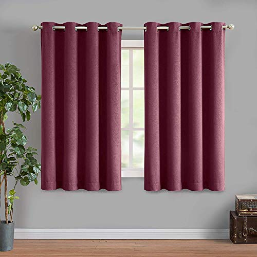 ECODECOR Red Blackout Curtain Panels for Bedroom, Paisley Embossed Living Room Window Drapes 63