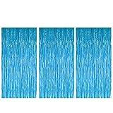 Kicpot 3 Pcs 3.3ft x 6.6ft Blue Thick Tinsel Foil Fringe Curtains for Birthday Bachelorette Party Decorations