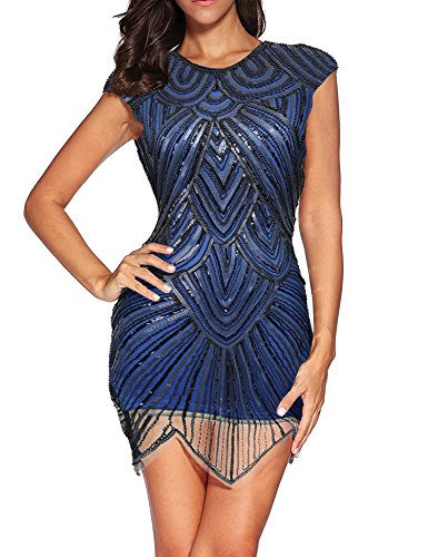 Women's Sequined Beaded 1920s Vintage Great Gatsby Flapper Dresses (M, Blue)