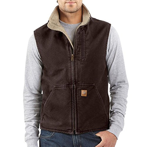 Carhartt Men's Sherpa Lined Sandstone Mock Neck Vest V33,Dark Brown,Large ()