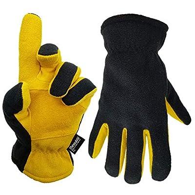 SKYDEER Mens Winter Work Gloves - Premium Genuine Deerskin Leather and Wool Work Glove (SD5168T/2XL)