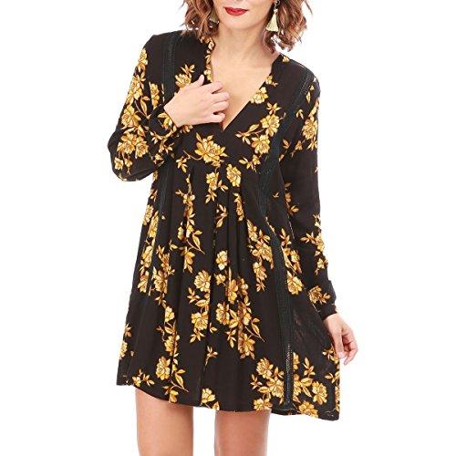 fleurs qu' Robe plus Noir l'avant l'arrire courte courte La asymtrique Modeuse imprim qIFzSw