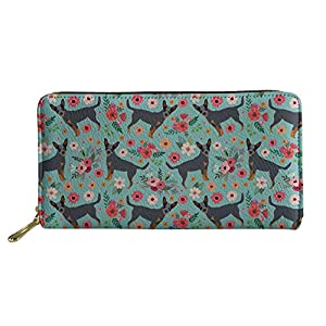 SANNOVO Women Soft Leather Purses Travel Wallet Floral White&Black Dogs Printed Shopping Pouch 3