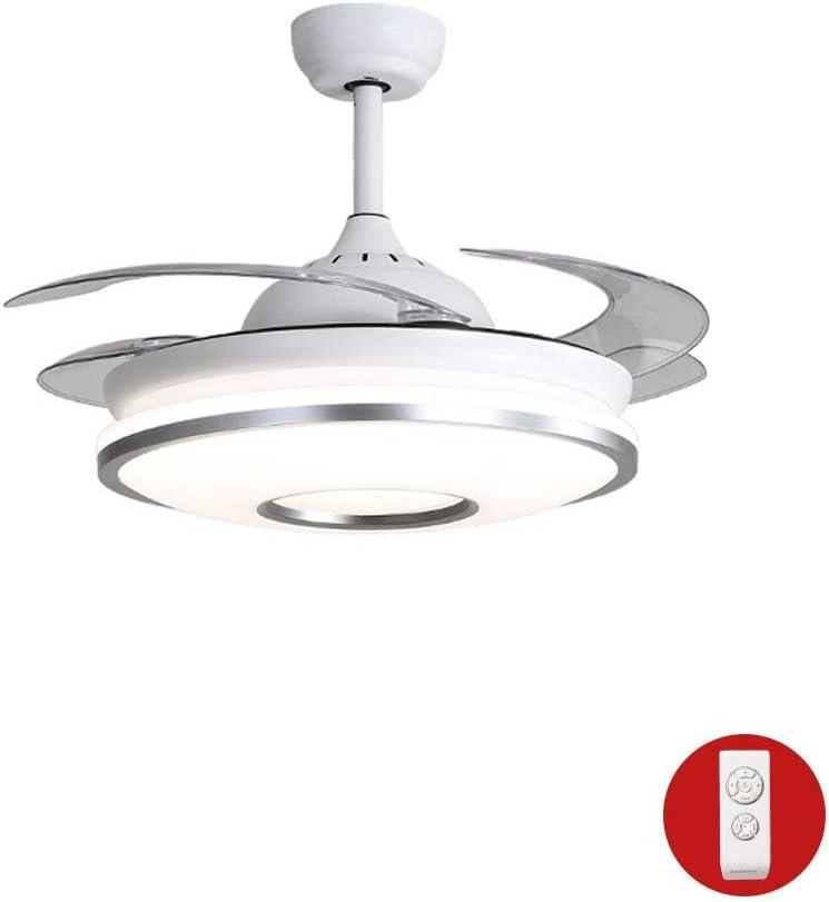 BUKEHANWEI Ventilador Invisible con Lámpara, Plafones LED Ajustables, 4 Aspas Retráctiles del Ventilador, con Mando A Distancia (Color : Y42116 Silver 108cm): Amazon.es: Hogar