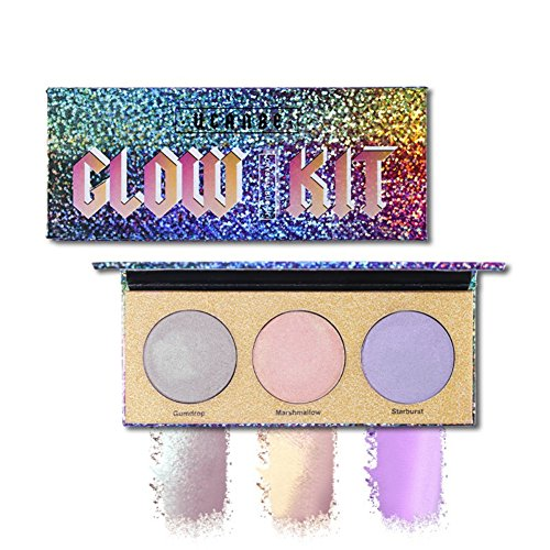 Angmile 3 Color Chameleon Highlighter Makeup Palette Crystal Sugar Highlighting Bronzer Glow Shimmer Eyeshadow Cosmetic Kit