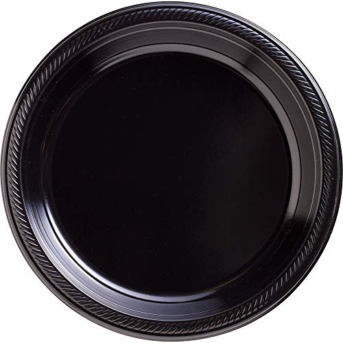 Big Party Pack Jet Black Plastic Plates | 10.25