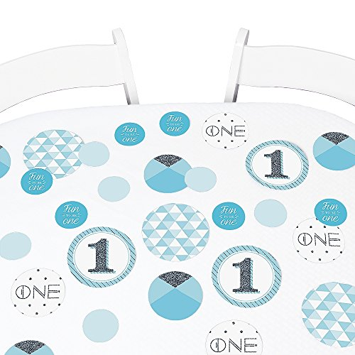 Big Dot of Happiness 1st Birthday Boy - Fun to be One - First Birthday Party Giant Circle Confetti - Party Decorations - Large Confetti 27 Count