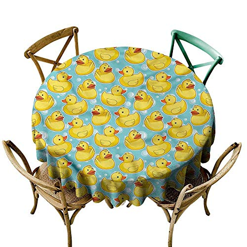 LsWOW 50 Inch Print Round Tablecloth Duckies Sketch Rubber Ducks Bubbles Great for Holiday Dinner & More