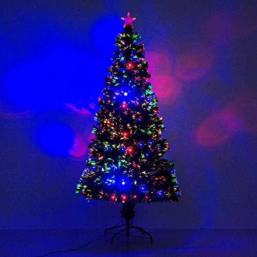HomCom 6 Artificial Holiday Pre-Lit Fiber Optic/LED Light-Up Christmas Tree With 8 Light Settings And Stand