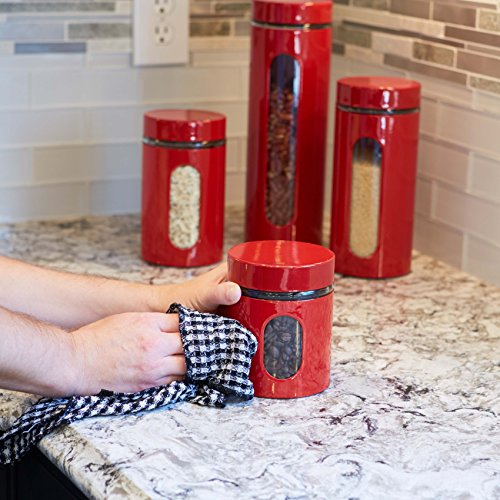 Anchor Hocking Palladian Glass and Stainless Steel Canister Set with Airtight Lids, Cherry, 4-Piece Set