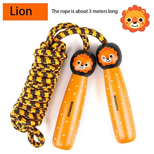 BIMOUR Childrens Sports Jumping Rope Cute Wooden Toys Lion Animal Handle Jump Rope Sports Toys Exercise Body Adjustable Skipping Length ...