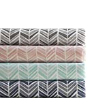 Madison Park Chevron Full Size Sheets, Causal Microfiber Bed Sheets, Pink Sheet Set 4-Piece Include Flat Sheet, Fitted Sheet & 2 Pillowcases