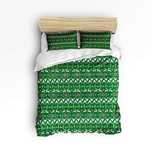 - YEHO Art Gallery Twin Soft Duvet Cover Set 3 Piece Kids Bedding Sets for Boys Girls,Include 1 Comforter Cover with 2 Pillow Cases,Christmas Stripe Pattern Green Adult Duvet Cover Set