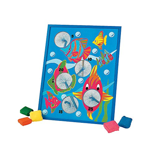 Fun Express - Tropical Fish Bean Bag Toss Game for Party - Toys - Games - Bean Bag Toss - Party - 7 Pieces ()
