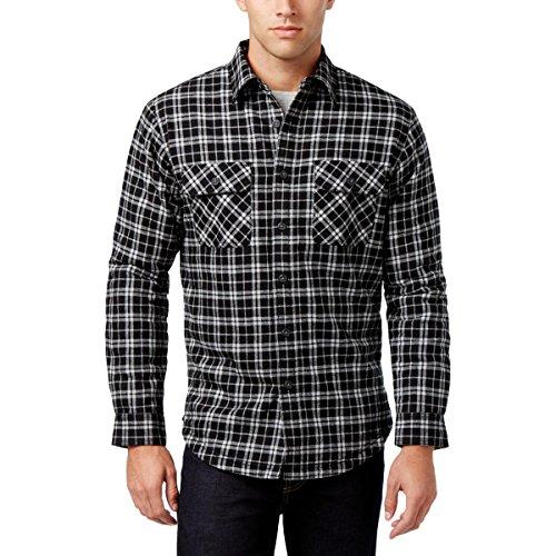 Club Room Mens Flannel Faux Fur Lining Shirt Jacket Black (Mens Club Jacket)