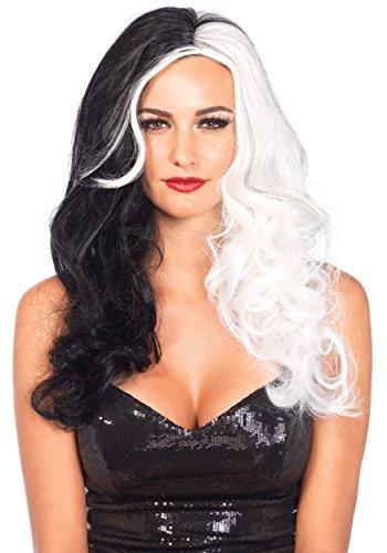 Leg Avenue Women's Two Tone Wig, Black/White, One Size - Cruella De Vil Costume Accessories