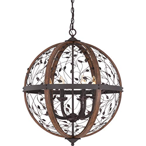 Quoizel CHB5206DK Chamber Wrought Iron Faux Alabaster Candle Foyer Pendant Lighting, 6-Light, 360 Watts, Darkest Bronze (29