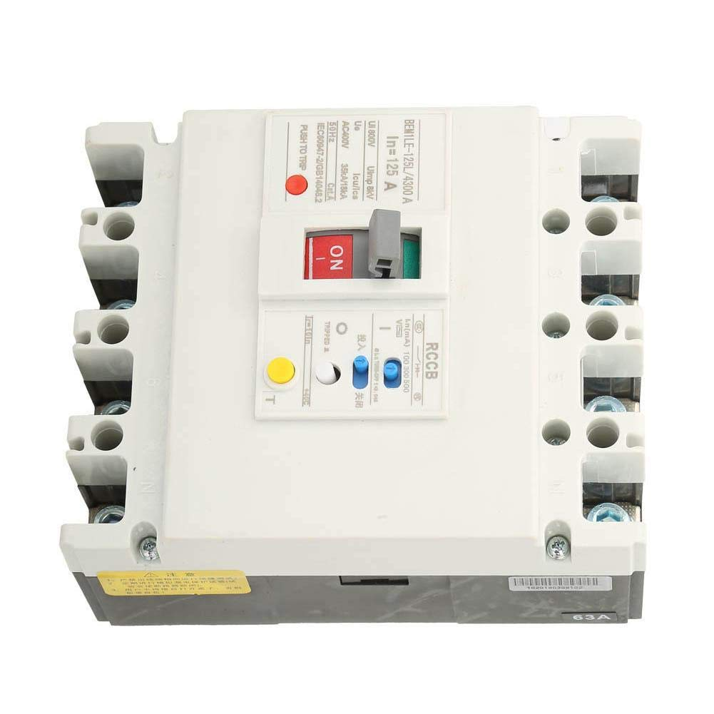 125A undervoltage Protection Circuit Breaker N 800V 63A // 80A // 125A Circuit Breaker Plastic housing Circuit Breaker Overload Short Circuit Residual Current Circuit Breaker RCCB 3P