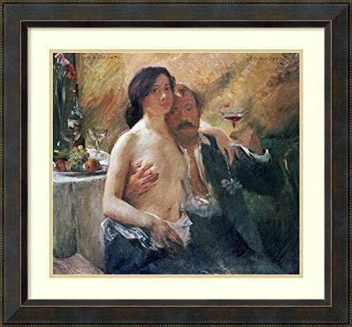 Framed Art Print 'Self Portrait With Nude Woman and Glass' by Lovis Corinth