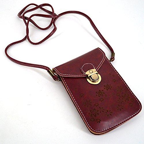 De De Cuerpo Bolso Rojo La Del Hombro Del Para Pu Minibandolera 2101 Color Meliya Vino Cuero De Móvil Ocasional Teléfono Cartera Del De Mujer qTftxR