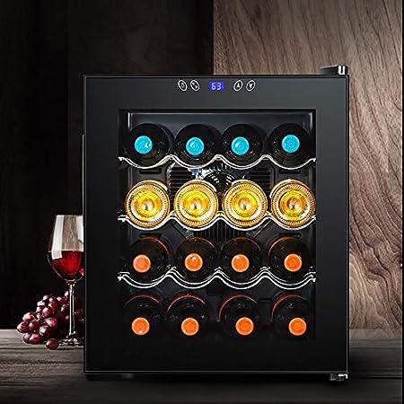 VIY Nevera vinos Vinoteca de 16 Botellas Luz LED Display Digital 3 Estantes Doble Aislamiento Zonas de Temperatura de 11-18 Grados Baldas Acero Inoxidable