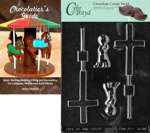 CybrtraydBoy Christening Lolly Baby Chocolate Candy Mold with Chocolatiers Guide