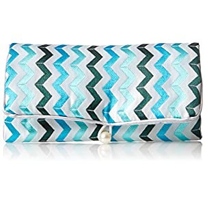 Zoe Zander Jewelry Roll, Turquoise Chevron, One Size