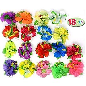Joyin Toy 18 Pieces Hawaiian Luau Flower Lei Hair Clip Set (18 pcs) 13