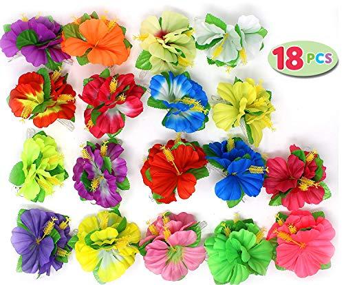 Joyin Toy 18 Pieces Hawaiian Luau Flower Lei Hair Clip Set (18 pcs)