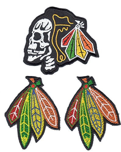 Black Hawks 3 Pack of Embroidered Iron-On Patches, One Skull and Two Feathers, 3